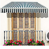 Outsunny 2.5m x 2m Garden Awning with Winding Handle in Green & white