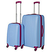Swiss Case Luggage 4 Wheel Spinner Bold 2 Piece Abs Hard Shell Suitcase Set Blue/Pink