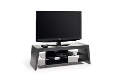 "Unique tapered profile places Form for screens up to 50"" max weight 50kg - Two tone black carcass with black glass floating shelves"