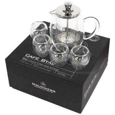 Grunwerg Stal Glass Cafetiere Coffee Maker and 4 Cups GCM-03/5
