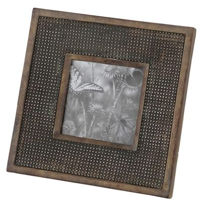 Charcoal Grey Studded Effect Square Photo Frame
