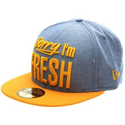 New Era Cap Co Sorry Im Fresh Blue Chambray/Athletic Gold Fitted Cap Size: 7 inch