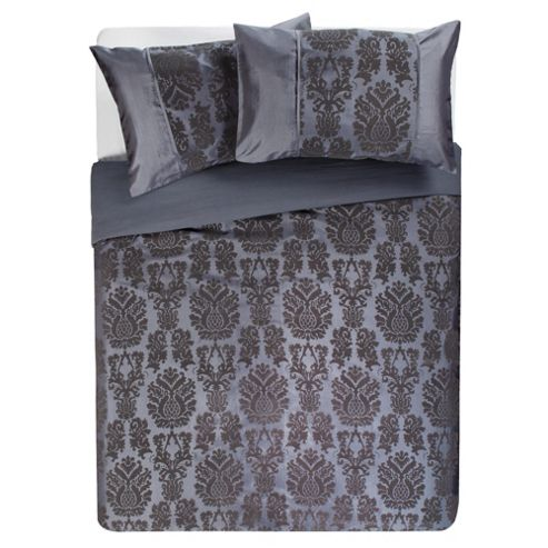 F&F Home Vienna Flock Kingsize Size Duvet Cover Set, Charcoal