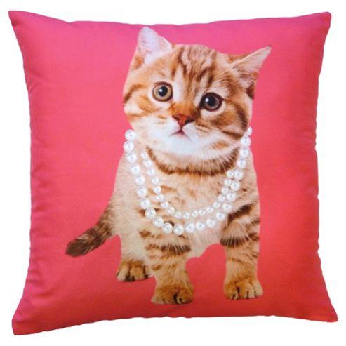 Novelty Kitten In Pearls Cushion