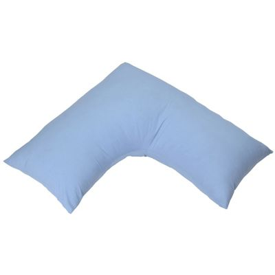 Homescapes Egyptian Cotton Blue V Shaped Pillow Case 100% Cotton 200 TC Pillow Cover for Orthopaedic/Pregnancy Pillow