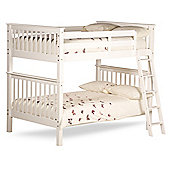Happy Beds Malvern White Wooden Quadruple Sleeper Bunk Bed 2 Spring Mattresses 4ft Small Double