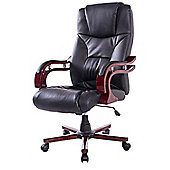 Homcom High Back Office Swivel PU Leather Desk Computer Height Adjustable (Black)