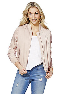 F&F Faux Fur Lined Bomber Jacket - Blush