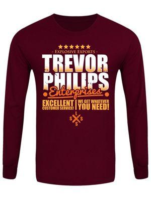 Trevor Philips Enterprises Men's Long-sleeve T-Shirt, Burgundy