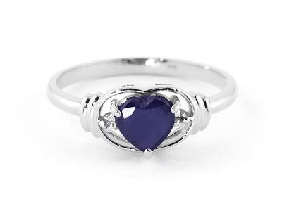QP Jewellers Diamond & Sapphire Halo Heart Ring in 14K White Gold - Size W