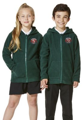 Unisex Embroidered School Zip-Through Fleece with Hood 9-10 years Green