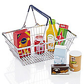 KiddyPlay Metal Shopping Basket and Wooden Play Food Set