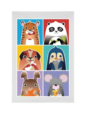 Animal Munchies Tea Towel White