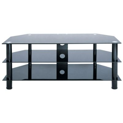 LEVV Piano Black Glass TV Stand with Black Legs