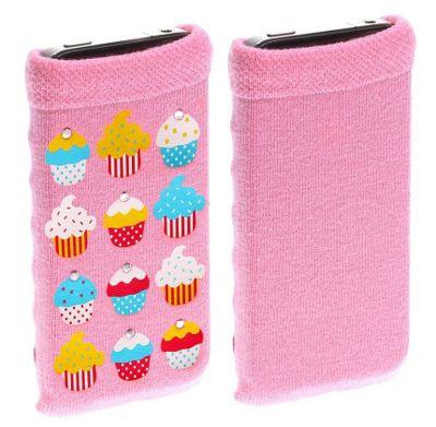 Trendz Universal Smartphone Sock - Pink Diamante Cupcakes