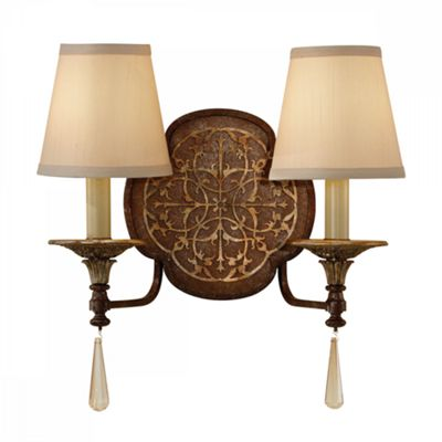 British Bronze/Oxidized Bronze 2lt Wall Light - 2 x 60W E14