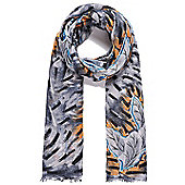 Grey, Blue and Orange Feather Fringed Scarf