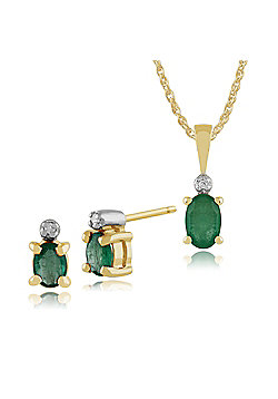 Gemondo 9ct Yellow Gold Emerald & Diamond Classic Oval Stud Earrings & 45cm Necklace Set