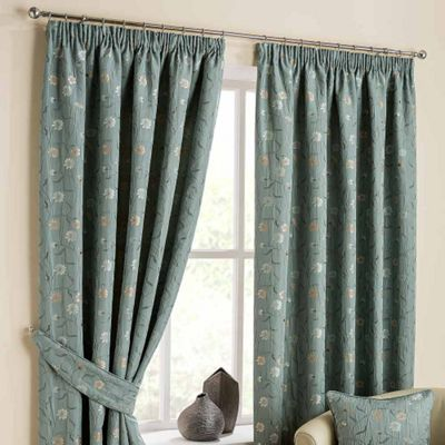 Homescapes Duck Egg Blue Ready Made Jacquard Curtain Pair Chintz Flowers 66x72