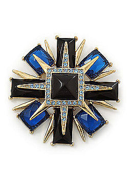 Victorian Style Black/ Blue Resin Stone Layered Cross Brooch In Gold Tone Metal - 75mm Across