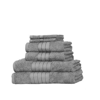 Dreamscene Luxury Egyptian Cotton 6 Piece Bath Towel Set - Silver