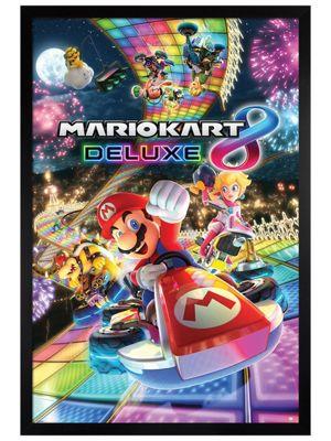 Super Mario Black Wooden Framed Mario Kart 8 Deluxe Poster 61x91.5cm