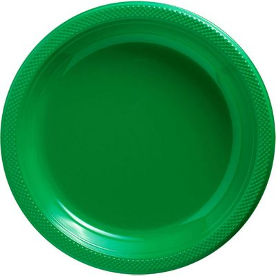 Green Plastic Serving Plates 26.6cm, Pack of 20