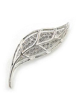 Silver Crystal Leaf Brooch
