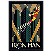 Black Wooden Framed Marvel Deco Iron Man Poster