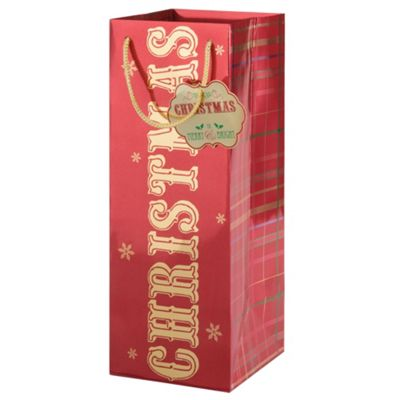 Tesco Bottle Bag & Gift Tag, Tartan