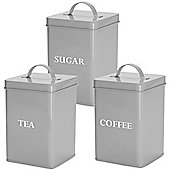 Andrew James Vintage Storage Canister 3 Piece Set for Sugar Tea and Coffee - Retro Grey