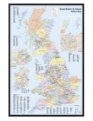 Political Map Gloss Black Framed UK & Ireland Poster