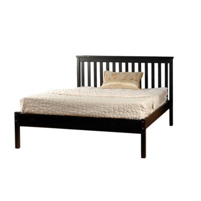 Comfy Living 4ft6 Double Slatted Low end Bed Frame in Chocolate with Damask Memory Mattress