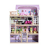 Homcom Deluxe Wooden Kids Doll House with 13PC Furnitures Cottage Children Entertainment Toy Game