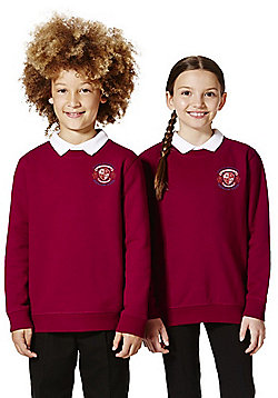 Unisex Embroidered Cotton Blend School Sweatshirt with As New Technology - Claret