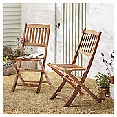 Kingsbury Folding Wooden Patio Chair, 2 Pack