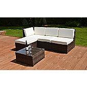Cadiz Garden Rattan Corner Sofa Set with Table Grey
