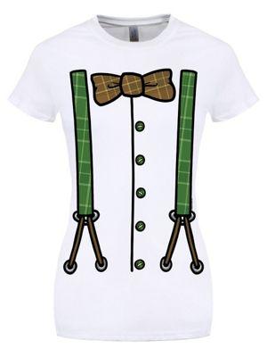 St Patrick's Day Costume Ladies White T-Shirt
