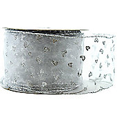 "Ribbon Wired Edge - 2.5"" x 10y - Silver Glitter"