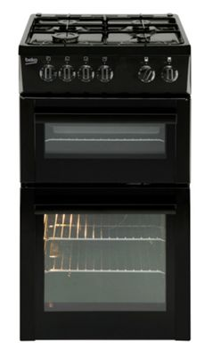 Beko Twin Cavity Single Gas Oven and Grill, 50cm Wide, BDG582K - Black