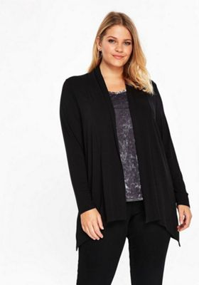 Evans Long Line Plus Size Cardigan Black 30-32