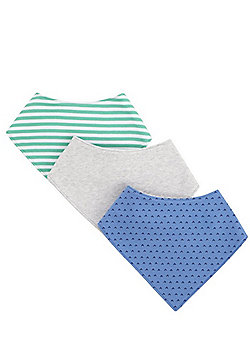 F&F 3 Pack of Plain, Arrow and Striped Dribble Bibs - Multi
