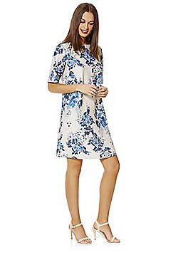 Only Floral Print Short Sleeve Dress - Blue