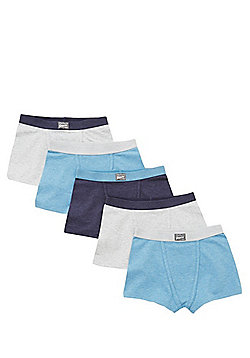 F&F 5 Pack of Marl Trunks with As New Technology - Blue & Grey