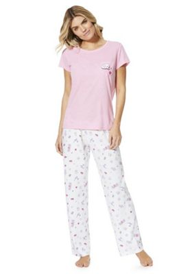 F&F Sweet Dreams Slogan Pyjamas Pink/White 6