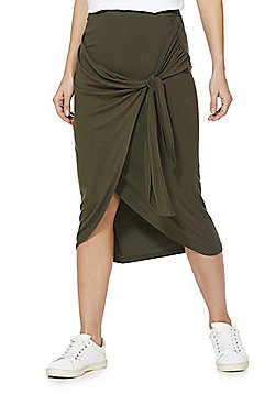 F&F Knot Front Wrap Jersey Skirt - Khaki