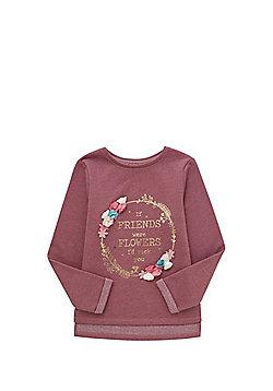 F&F 3D Petal Metallic Slogan Sweatshirt - Dusky pink