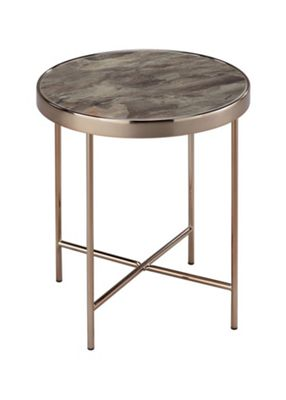 FINO Glass Round Side Table,Rose Gold/Brown Marble Glass