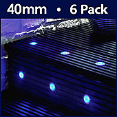 MiniSun Pack of Six 40mm Blue LED Round Decking Lights