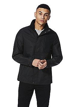 F&F Shower Resistant Hidden Hood Ripstop Jacket - Black
